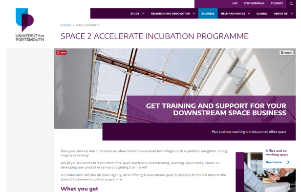 Space 2 accelerate website