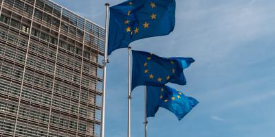 European Union flags flying