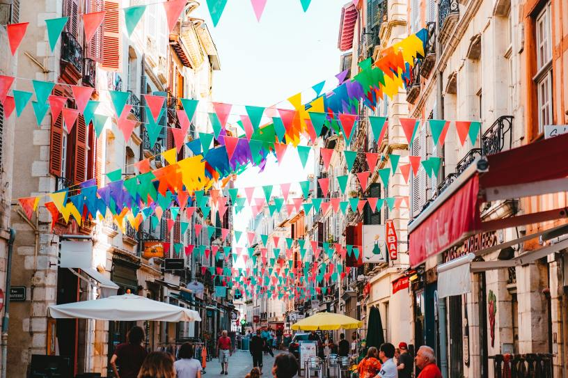 Colourful European street scene